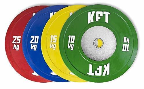 ¡Promoción! Set de discos olímpicos bumper de competición de KFT con portes de envío gratuitos