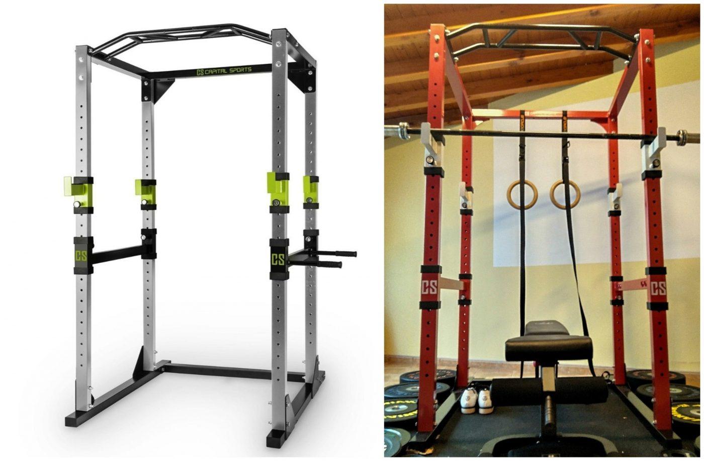 Capital Sports Tremendour Jaula de musculación (acero, soportes seguridad, 4 ganchos en J, barra multiagarre, barras paralelas desmontables, pesas, press, flexiones)